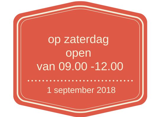 ook op zaterdag open